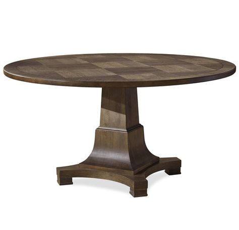Vintage Oak Pedestal Round Dining Table