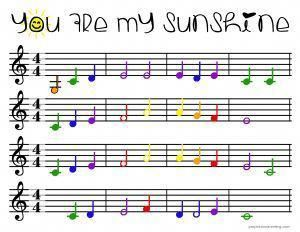 You Are My Sunshine Color Coded Beginner Piano Sheet Music