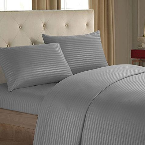 Pretty Lee 4 Pieces Polyester Bed Sheet Set Brushed Microfiber Bedding Duvet Cover Set Simple Solid Color B Striped Bed Sheets Bed Sheet Sets Luxury Bed Sheets