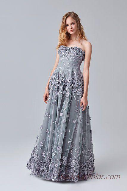 2019 Abiye Elbise Modelleri Gri Uzun Omzu Acik Kabarik Etek Cicek Islemeli Elbise Modelleri Elbise Resmi Elbise
