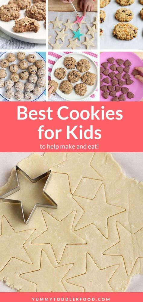 Bake up the best cookies for kids to help make and eat, from loaded Chocolate Chip Cookies and easy Sugar Cookies, to Oatmeal Raisin, Pumpkin Cookies, Applesauce Cookies, and more! #cookiesforkids #christmascookiesforkids #bakingwithkids #kidsinthekitchen