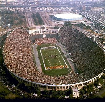 Super Bowl Vii At Los Angeles Memorial Coliseum With The Los Angeles Sports Arena In The Background Sports Stadium Football Stadiums Empress Of The Seas
