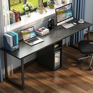 Little Tree 78 Extra Large Double Workstation Computer Desk For Two Person Simple Modern Style Office Desk With Stor Desk For Two Home Desk Home Office Decor