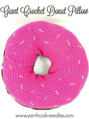 Giant Crochet Donut Pillow With Free Pattern Yarn Donut