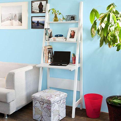 SoBuy/® Moderno scaffale a Scala con scrivania salvaspazio Colore:Bianco FRG60-W,IT