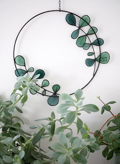 Stained Glass Eucalyptus Wall Decoration - Handmade Glass Suncatcher as Personalised Wedding Gift
