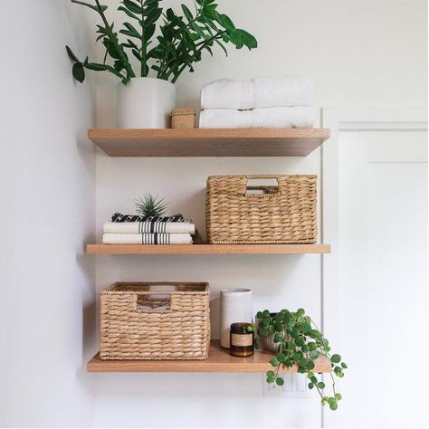 47 diy floating shelves bathroom decor you must have 12 Summer Deco, Diy Regal, Diy Casa, Shelves In Bedroom, Dining Room Shelves, Floating Shelves Diy, Floating Cabinets, White Cabinets, Simple Bathroom