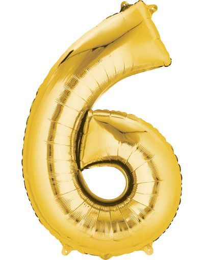 Giant Gold Number 6 Balloon 22in X 34in