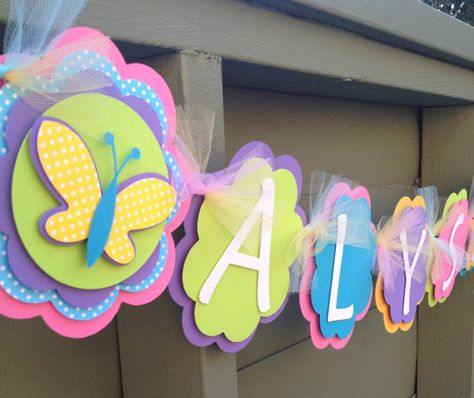 Items similar to Girl Name Butterfly Flower Diecut Party Decoration, Happy First Birthday, Happy Birthday Banner on Etsy