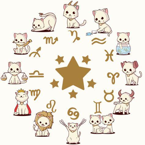 zodiac star sign but in cat\ #kawaii #cute #cat #zodiac #starsign