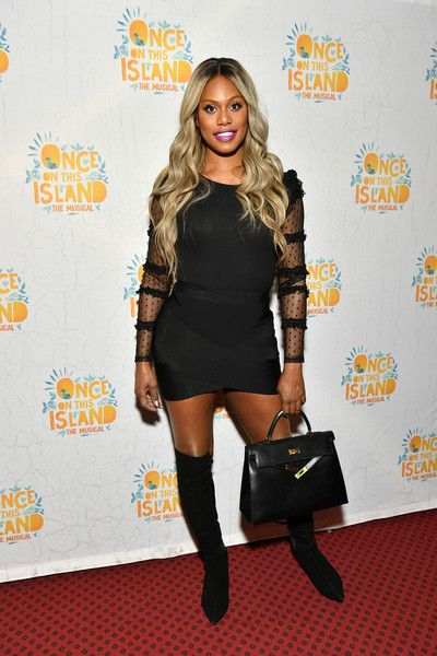 Laverne Cox attends the 'Once on This Island' Broadway Opening Night at Circle in the Square.