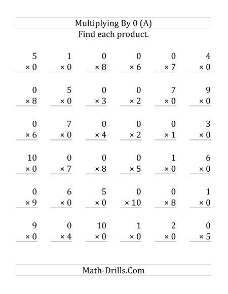 Multiplying 1 To 10 By 0 36 Questions Multiplication Facts Worksheets Multiplication Multiplication Facts