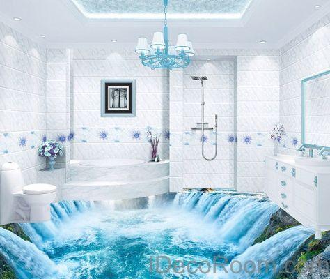 Waterfall River 00010 Floor Decals 3D Wallpaper Wall Mural Stickers Print Art Bathroom Decor Living Room Kitchen Waterproof Business Home Office Gift