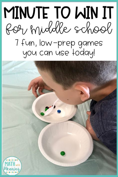 7 Low-Prep Minute to Win It games for the middle school classroom! Perfect for the end of the year! 7 Low-Prep Minute to Win It games for the middle school classroom! Perfect for the end of the year! Middle School Activities, Middle School Classroom, Middle School Science, Math Classroom, School Fun, Middle School Crafts, Middle School Stem, Games For Middle Schoolers, School Games For Kids