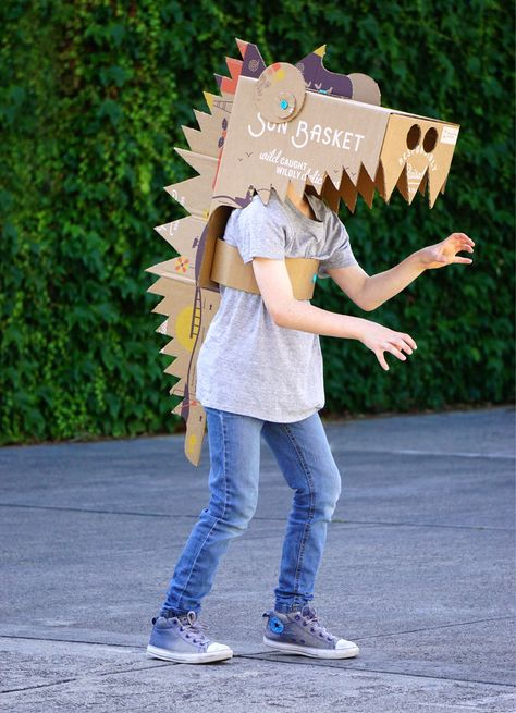 Makedo Dinosaur Costume From a Sun Basket Box