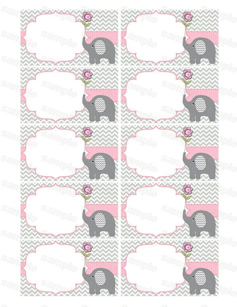 Blank insert for baby shower invitation thank you notes diaper raffle elephant baby shower girl baby shower (50atb) instant download