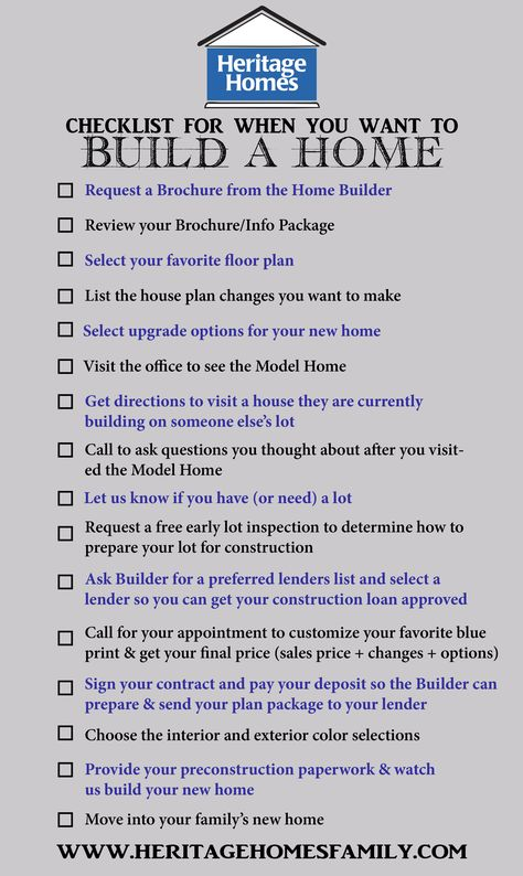 When Building A New Home What To Know checklist of what to do when you want to build a home. the steps