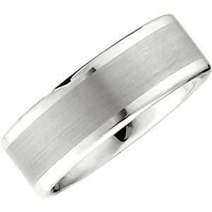 Size 8 Sterling Silver Dura Band With Sterling Silver Inlay