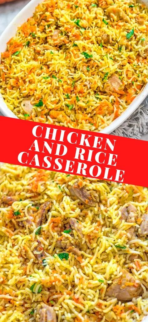 This simple and easy Chicken Rice Casserole makes an elegant and tasty dinner. Made with onions, carrots, basmati rice, and chicken you won't believe how delicious this meal is!   FOLLOW Cooktoria for more deliciousness!   #chicken #rice #dinner #casserole #recipeoftheday #cooktoria