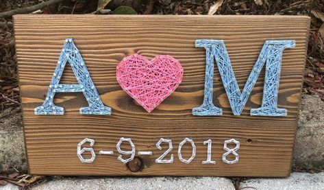 Custom Wedding/Anniversary String Art Sign Date Art Wall | Etsy
