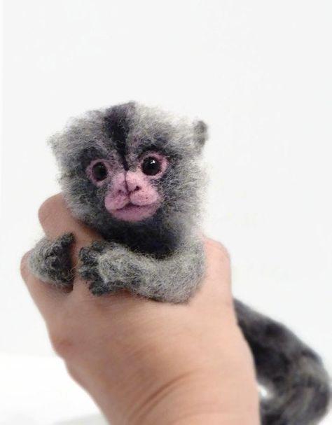 Made To Order Felted Marmoset Marmoset Affe Miniatur Affe Pygmy