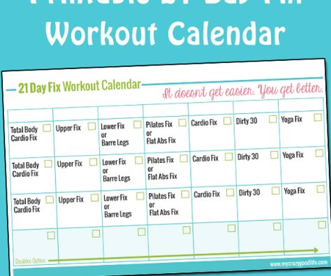 graphic about 21 Day Fix Workout Schedule Printable titled Pinterest