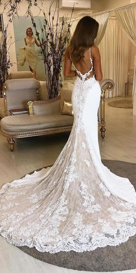 20 atemberaubende Trompete & Meerjungfrau Brautkleider – Meerjungfrau Brautkleid… 20 stunning trumpet & mermaid wedding dresses – open back mermaid wedding dress 2 you are in the right place for diy projects H – # stunning # Bridal dresses Lace Wedding Dress With Sleeves, Fit And Flare Wedding Dress, Lace Mermaid Wedding Dress, Mermaid Dresses, Backless Mermaid Wedding Dresses, Gowns With Sleeves, Sleeve Dresses, Ball Dresses, Sexy Dresses