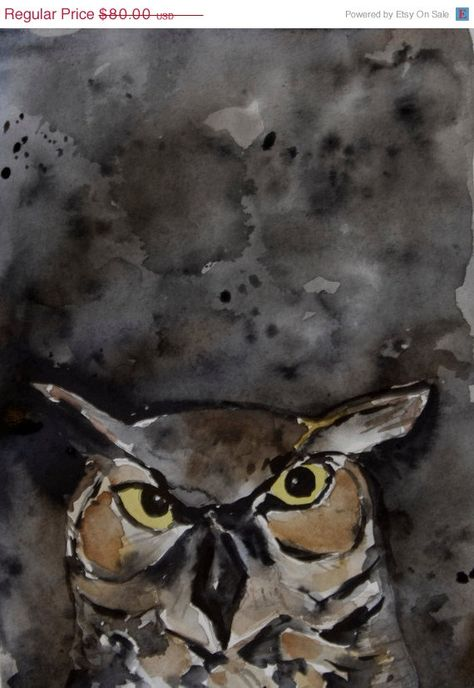 Art print Night owl bird art woodland art print Halloween art wild life owl watercolor print hoot gift for him black night sky art