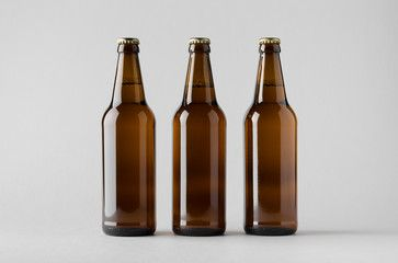 Beer Bottle Mock Up Three Bottles Bottle Beer Bottle Wine Bottle