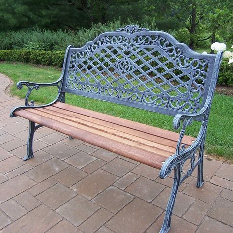 Oakland Living Tea Rose Cast Iron and Wood Bench in Antique Bronze Finish - Oakland Living Tea Rose Cast Iron and Wood Bench in Antique Bronze Finish . An exquisite bench to place in your garden, backyard, balcony, or park area.