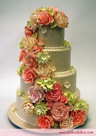 Cascading Flowers Wedding Cake