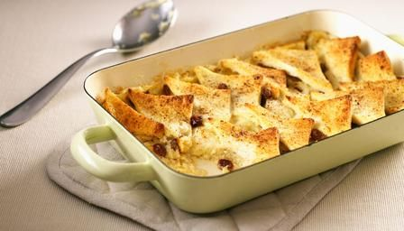 Bread and butter pudding. An old-fashioned English family favourite that goes easy on the wallet. Day-old bread works best in this recipe.