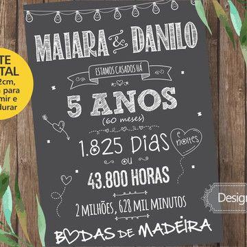 Chalkboard Impresso Sem Moldura Bodas De Madeira 5 Anos No