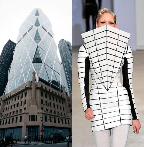 Sir Norman Fosters Hearst building echoed in a spring 2009 look from Gareth Pugh / Images: Hiroko Masuike for The New York Times, Don Ashby