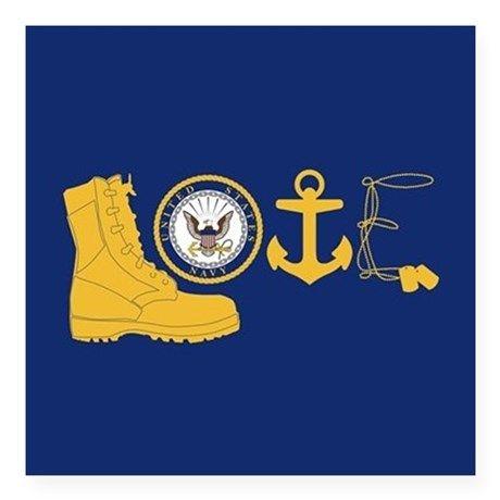 Navy Love Square Sticker 3