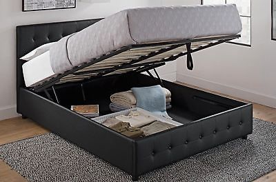 Full Size Bed Frame Storage Tufted Headboard Platform Hidden Panel