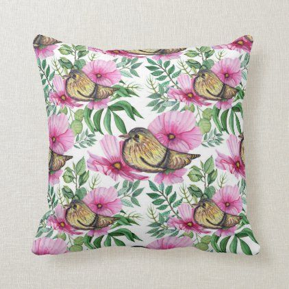 Spring Season Nature Flowers Birds Design Floral Throw Pillow