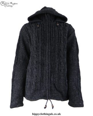 Charcol Chunky Knit Wool Fleece Lined Hippie Jacket Festival Warm Casual Hoodie