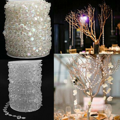 33FT Garland Diamond Strand Acrylic Crystal Bead Curtain Wedding Party DIY Decor