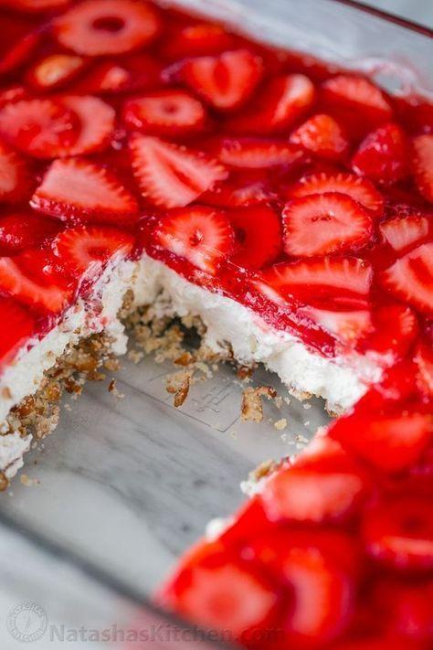 Strawberry Pretzel Salad Recipe (VIDEO) - NatashasKitchen.com