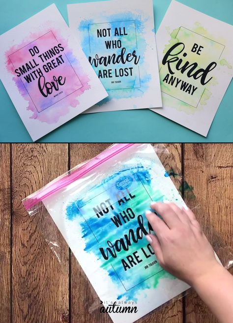 You can make these pretty watercolor prints with markers and a plastic bag! Click through to download the quote prints, then create your own DIY watercolor backgrounds for them. Fun craft for adults or kids. #watercolor