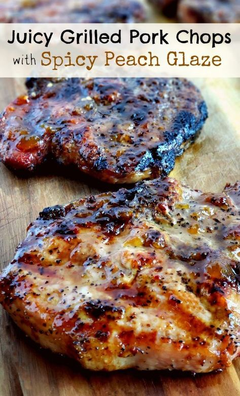Grilling a quick and easy meal has never been so easy. These tender and Juicy Grilled Pork Chops with Spicy Peach Glaze come together quickly for a dinner your family and friends will not soon forget. The glaze can be put together in minutes, while the pork chops undergo a quick brine. #noblepig #pork #porkchops #grilling #easydinners #grilledporkchops Grilling a quick and easy meal has never been so easy. These tender and Juicy Grilled Pork Chops with Spicy Peach Glaze come together quickly for