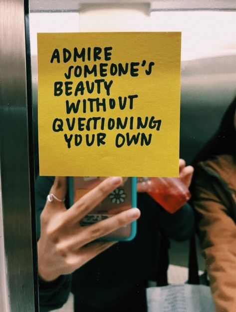 cute post it note quote in bathroom mirror #quotes #words #vsco #aesthetic #happy #positivity