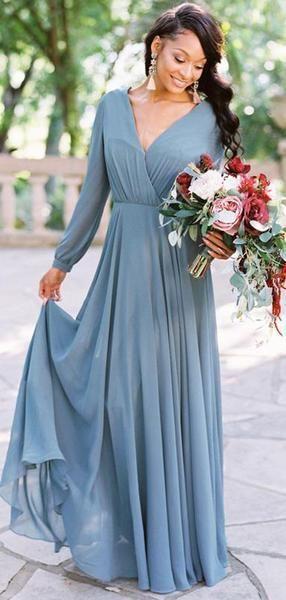 Dusty Blue Chiffon Long Sleeve A Line Bridesmaid Dresses Ab4057 Long Sleeve Bridesmaid Dress Dusty Blue Bridesmaid Dresses Bridesmaid Dresses With Sleeves