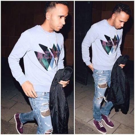 Lewis Hamilton's Kenzo 'Twin Peaks' sweatshirt and Christian Louboutin 'Rantus' sneakers http://www.whats-he-wearing.com/2014/10/lewis-hamilton-wears-kenzo-sweatshirt-christian-louboutin-rantus-sneakers-london-street-style.html?spref=tw