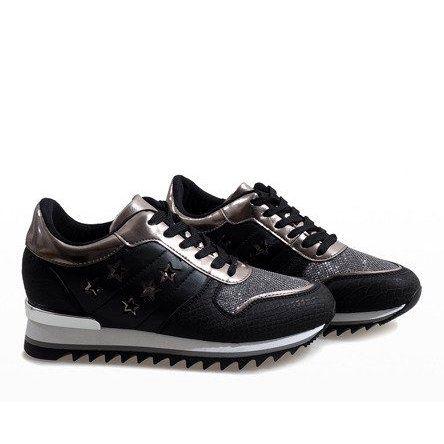 Czarne Sneakersy Na Koturnie G 127 Black Heels Wedges Black Sneakers Boot Shoes Women