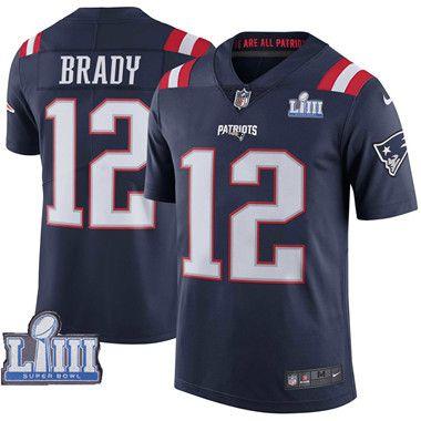 Nike New England Patriots 12 Tom Brady Navy 2019 Super Bowl Liii Color Rush Limited Jersey Color Rush Nike Nfl Super Bowl Jerseys