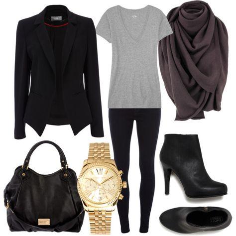 Black Blazer + Heather Gray V-neck Tee + Dark Gray Infinity Scarf + Leggings + Black Ankle Boots + Gold Watch