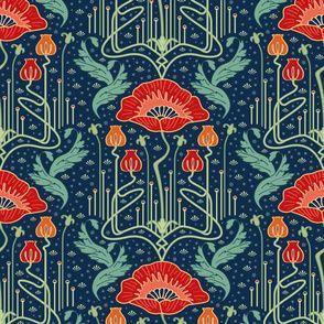 art nouveau poppy red wallpaper custom fabric by bamokreativ for sale on Spoonflower Art Nouveau Pattern, Art Nouveau Design, Mary Engelbreit, Red Wallpaper, Fabric Wallpaper, Disney Wallpaper, Jugendstil Design, Poppy Pattern, Pin On