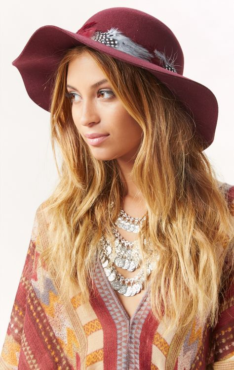 Burgundy Floppy Hat with Brown Feather by PHOEBE PRICE Designs